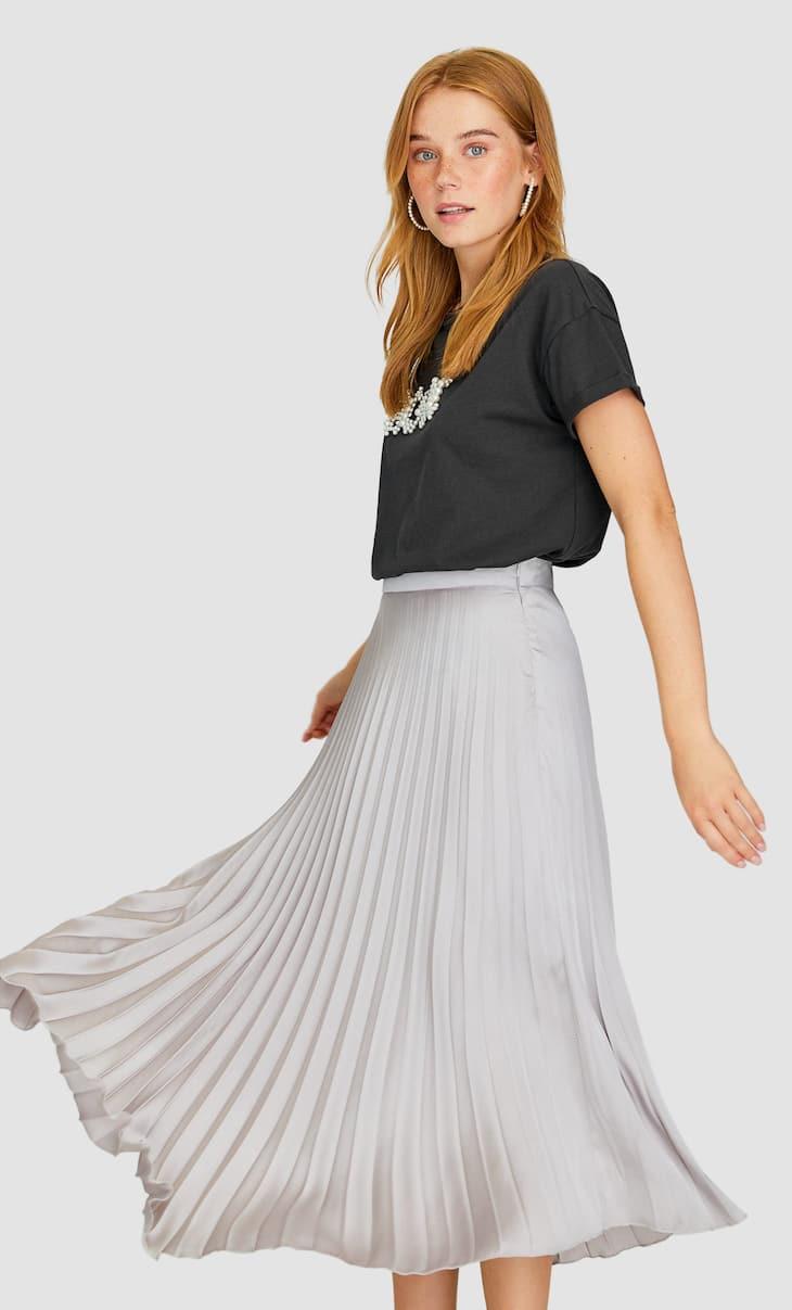 Плиссированная юбка из сатина