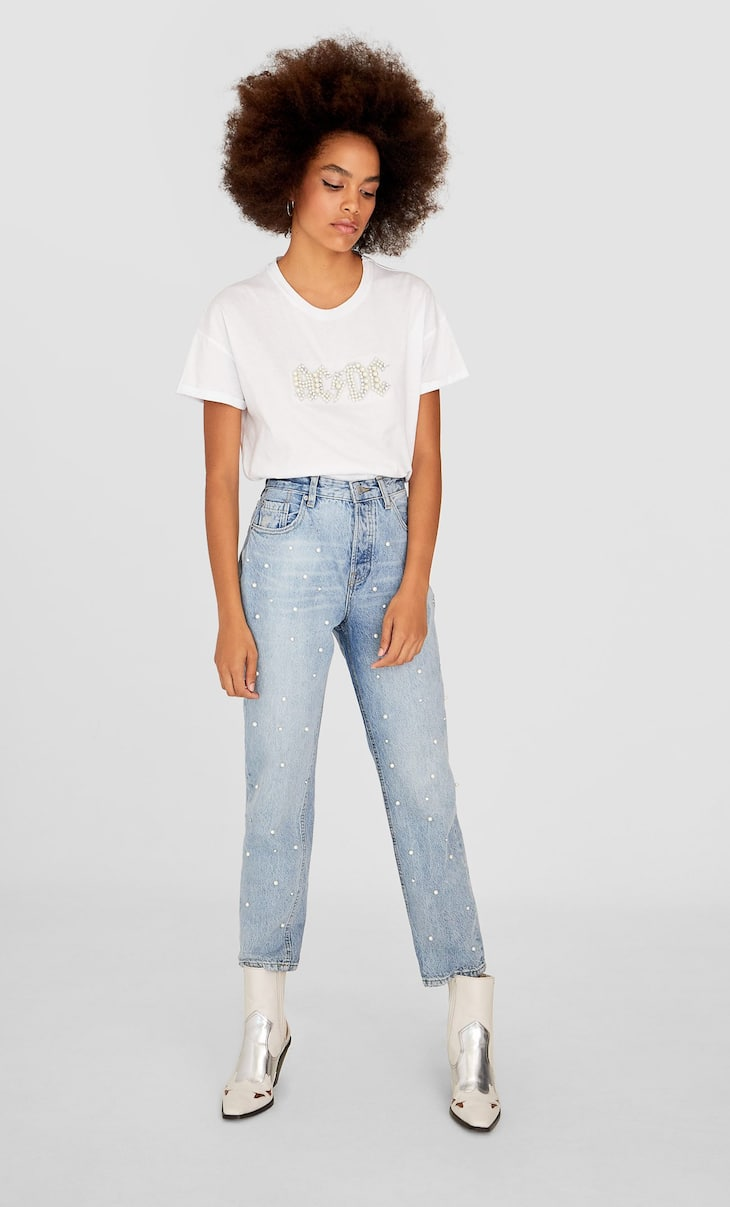 Vintage mom jeans with faux pearls