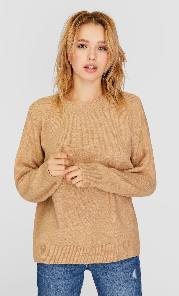 Felted round neck sweater