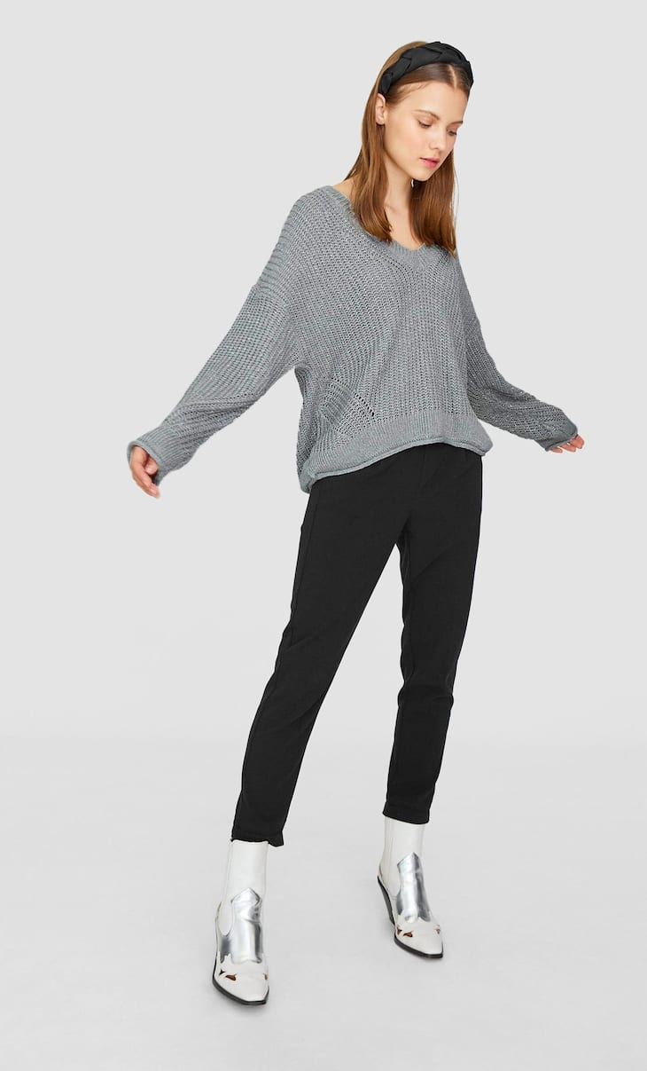 V-neck shimmer sweater