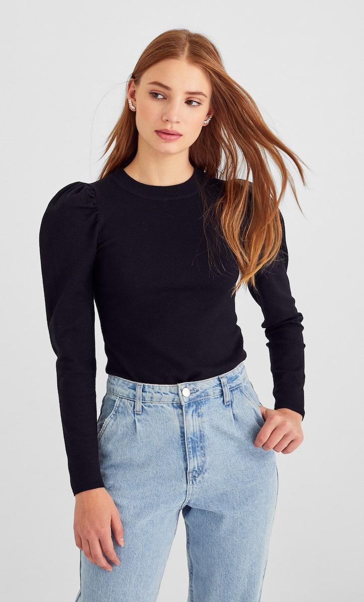 Puffy sleeve sweater