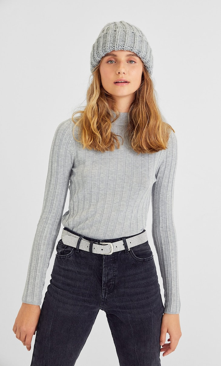 Ribbed long sleeve semi-turtleneck sweater