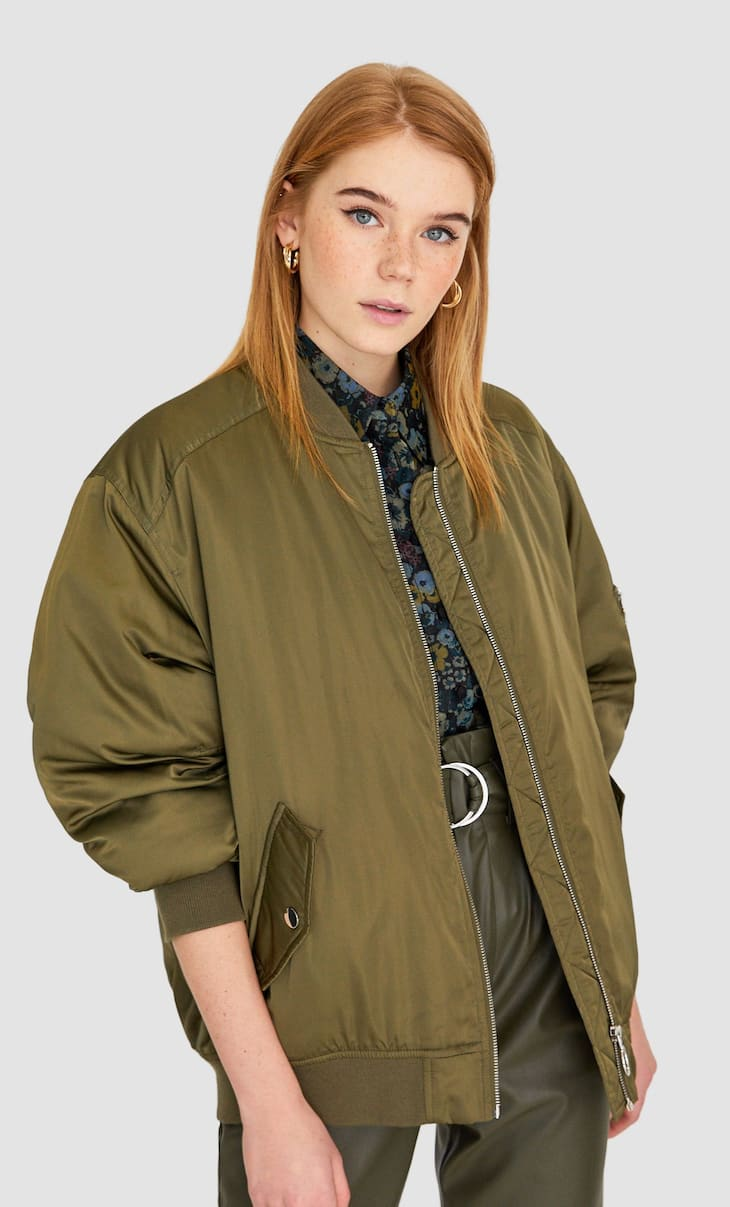 Satin effect bomber jacket