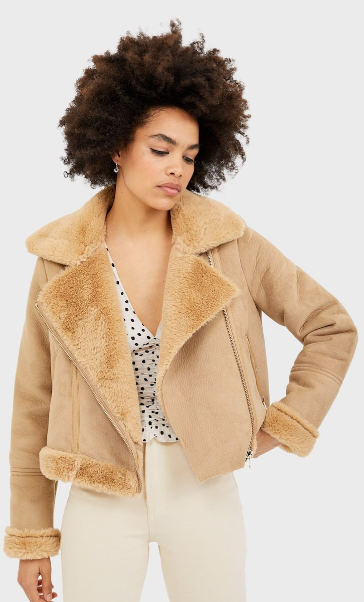 Short faux shearling jacket
