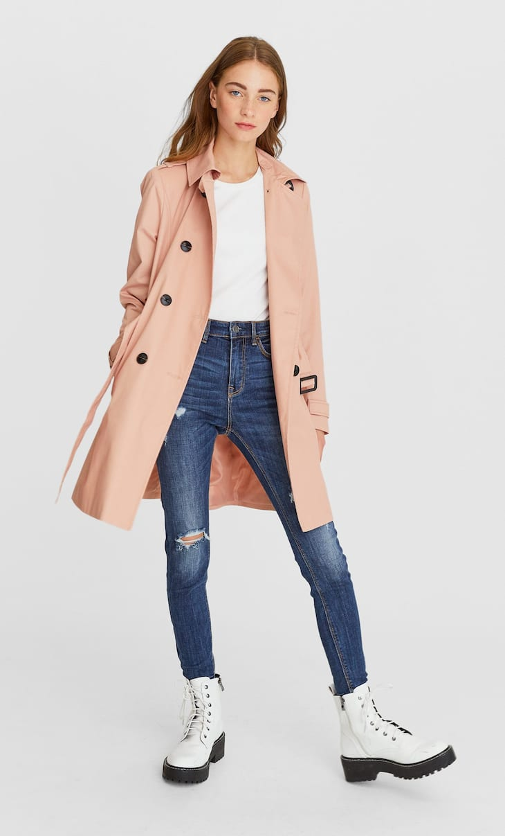 Lapel collar trench coat