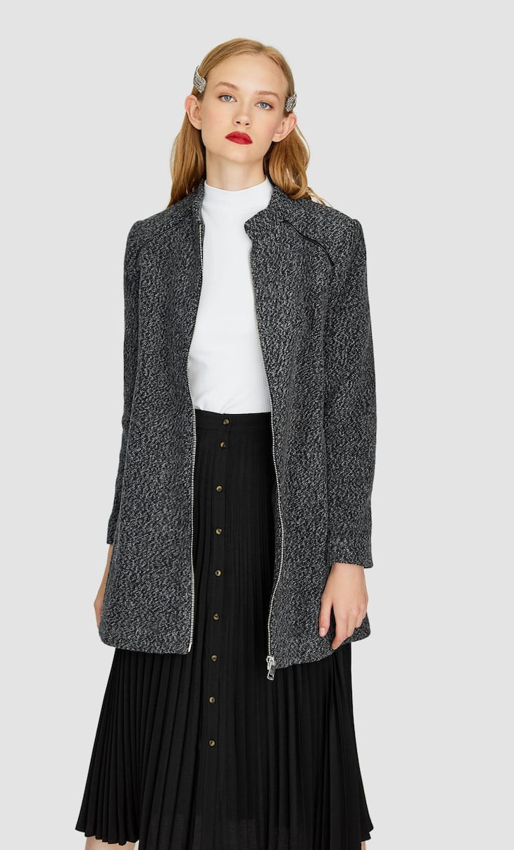 Zip-up cutwork coat