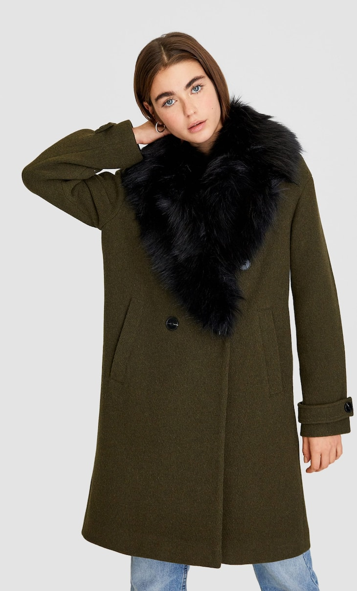 V-neck synthetic wool coat