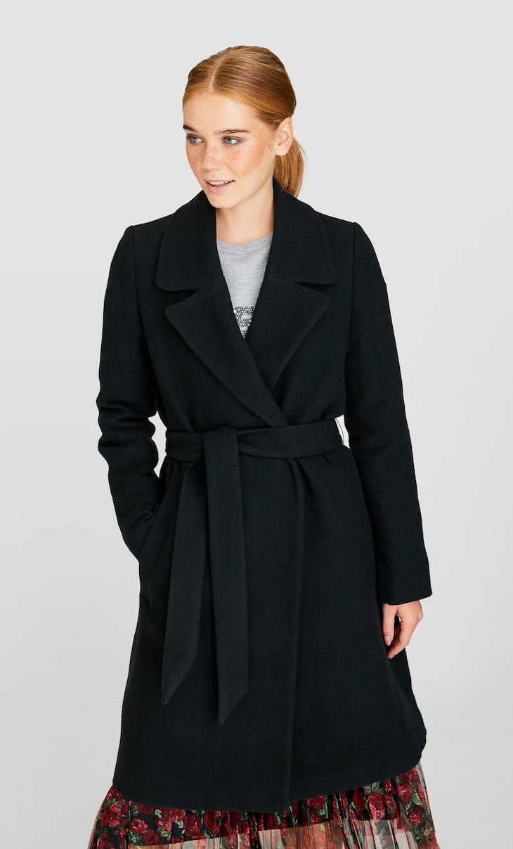 Woolly coat with belt
