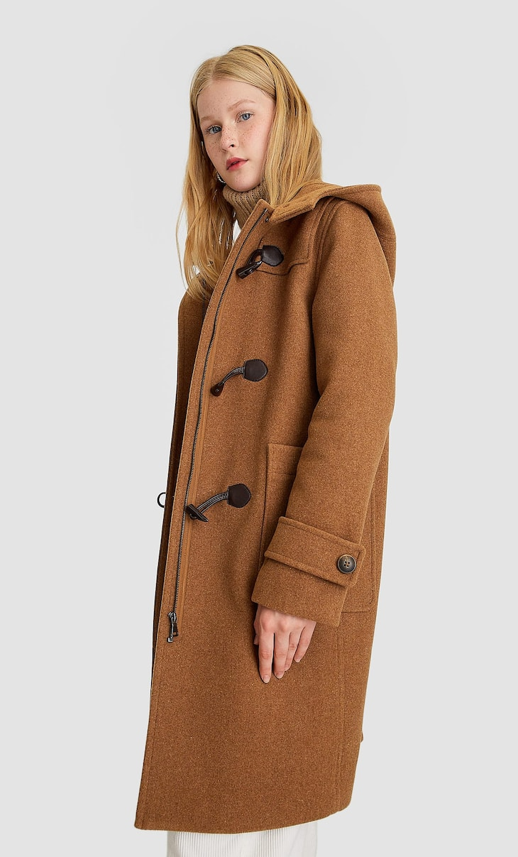 Long synthetic wool duffle coat
