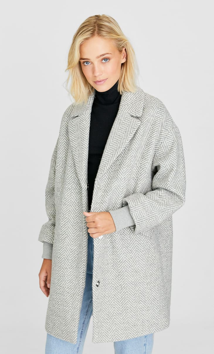 Woolly fabric coat