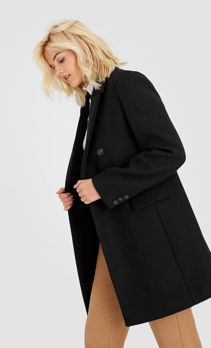 Manteau style caban à double boutonnage