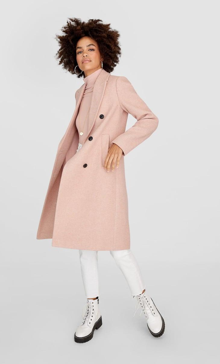Basic woolly fabric coat