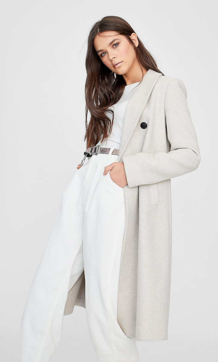 Basic woolly fabric coat