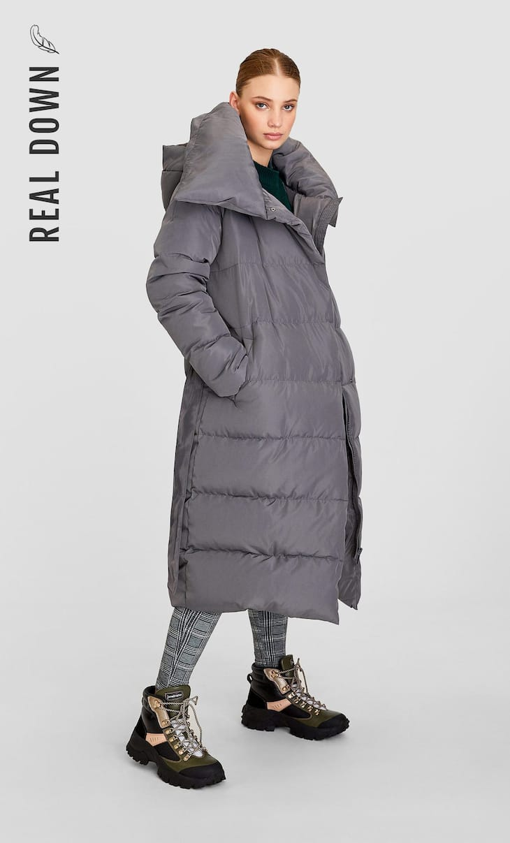 Down puffer anorak with belt