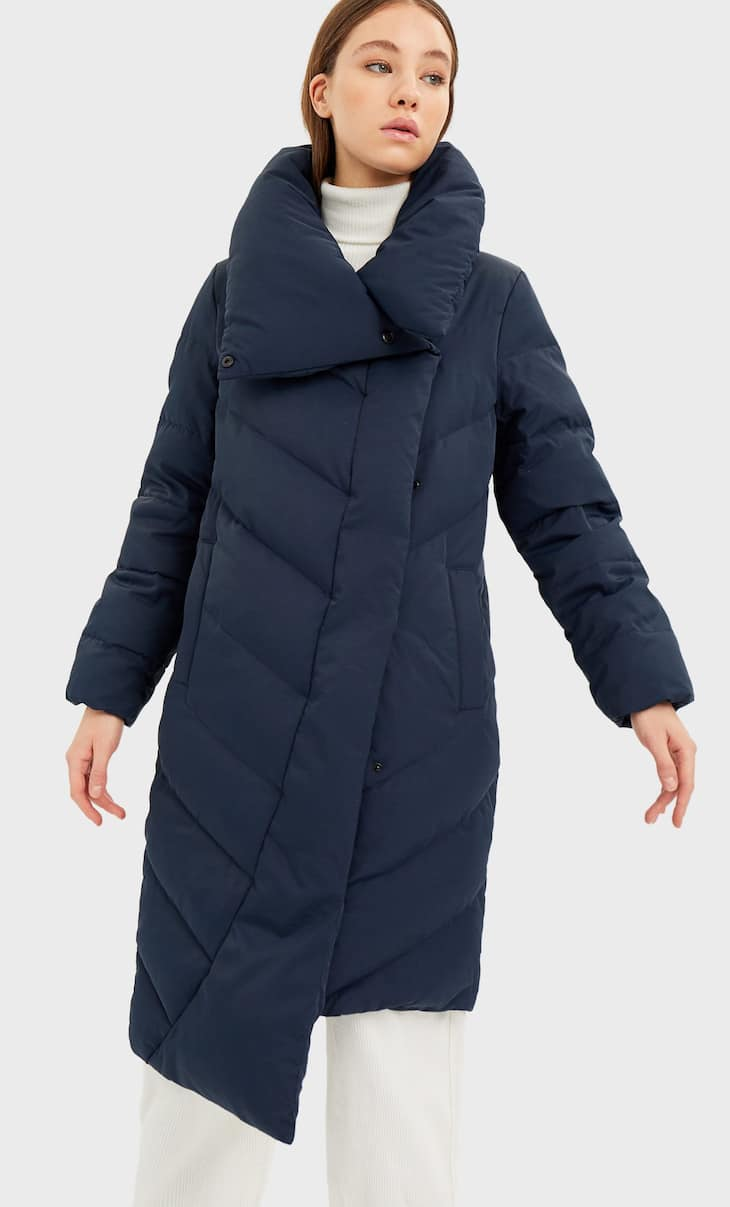 Down puffer anorak with wraparound collar