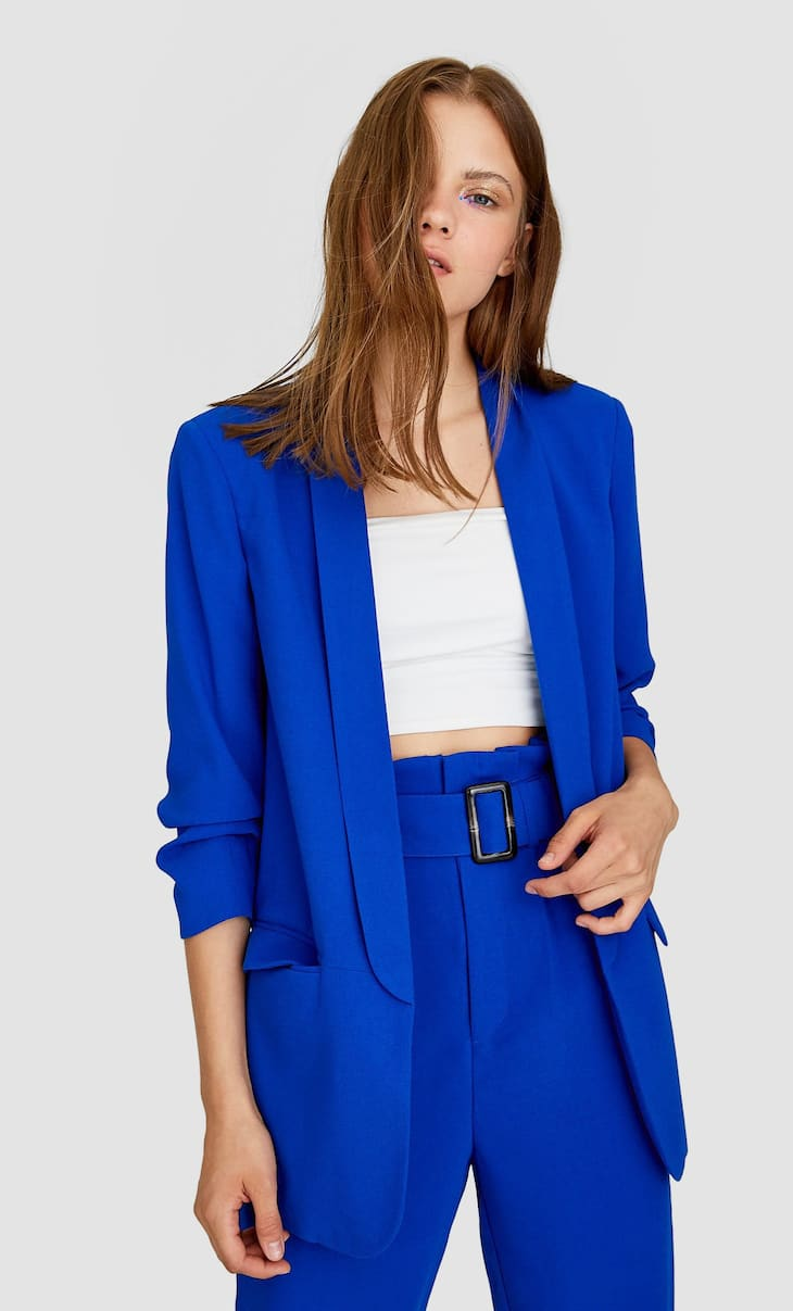 Blazer with gathered sleeves