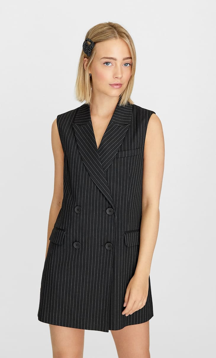 Striped double-breasted waistcoat