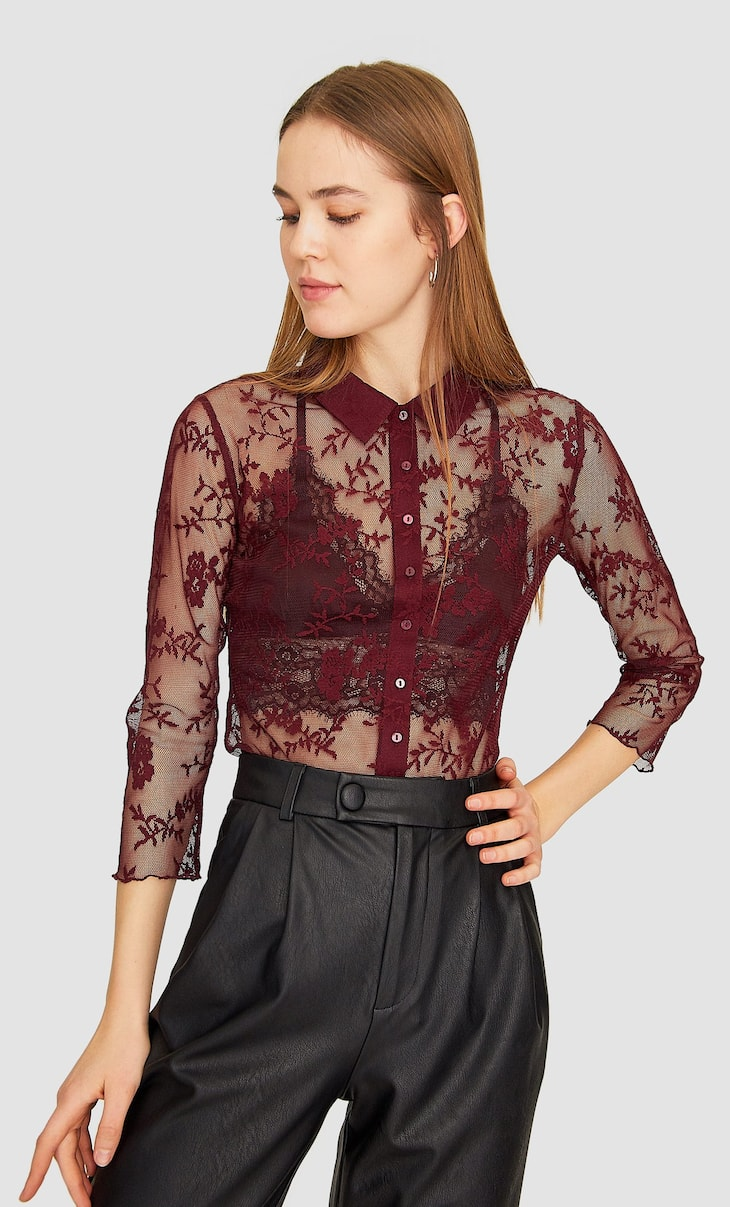 Tulle lace shirt