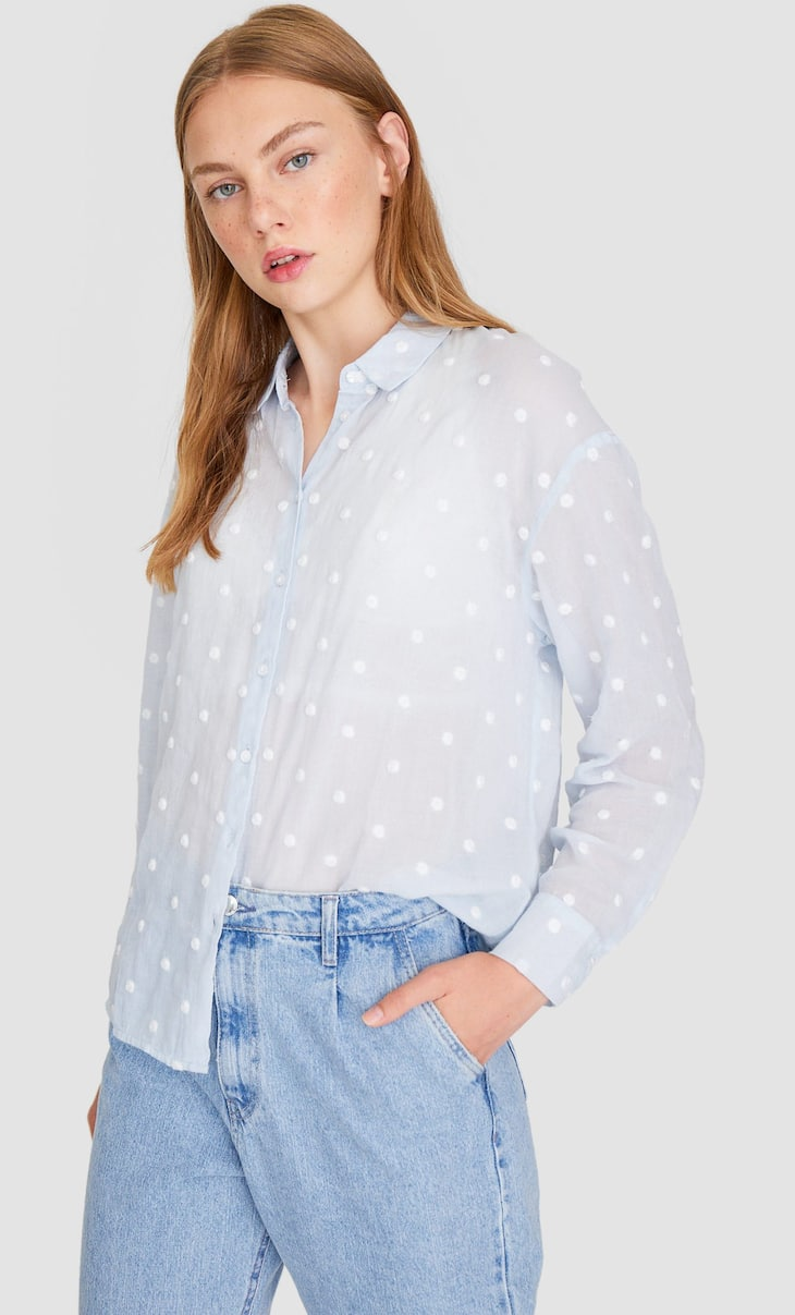 Dotted mesh shirt