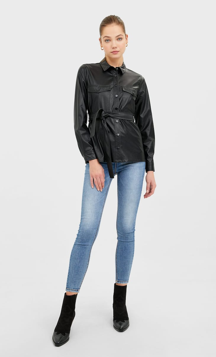 Belted faux leather shirt