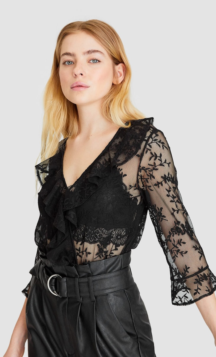Lace bodysuit with ruffles