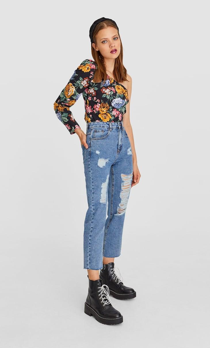 Asymmetric floral print blouse