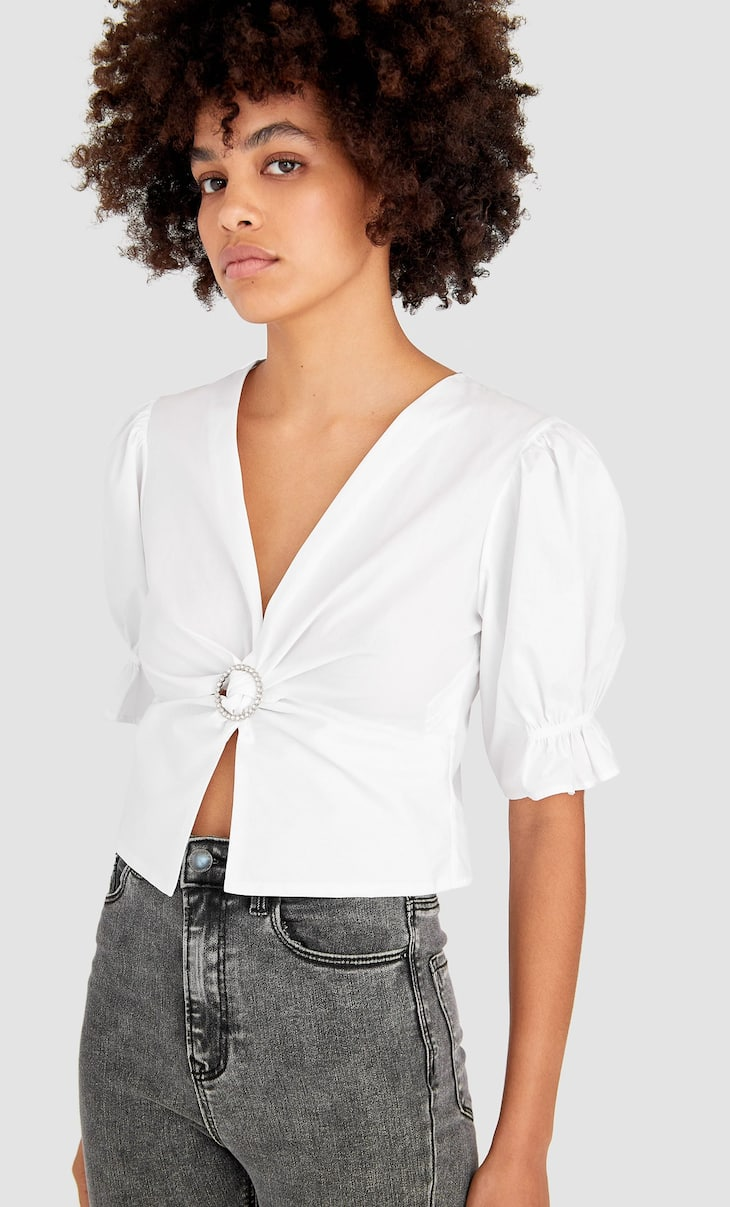 Bejewelled poplin blouse