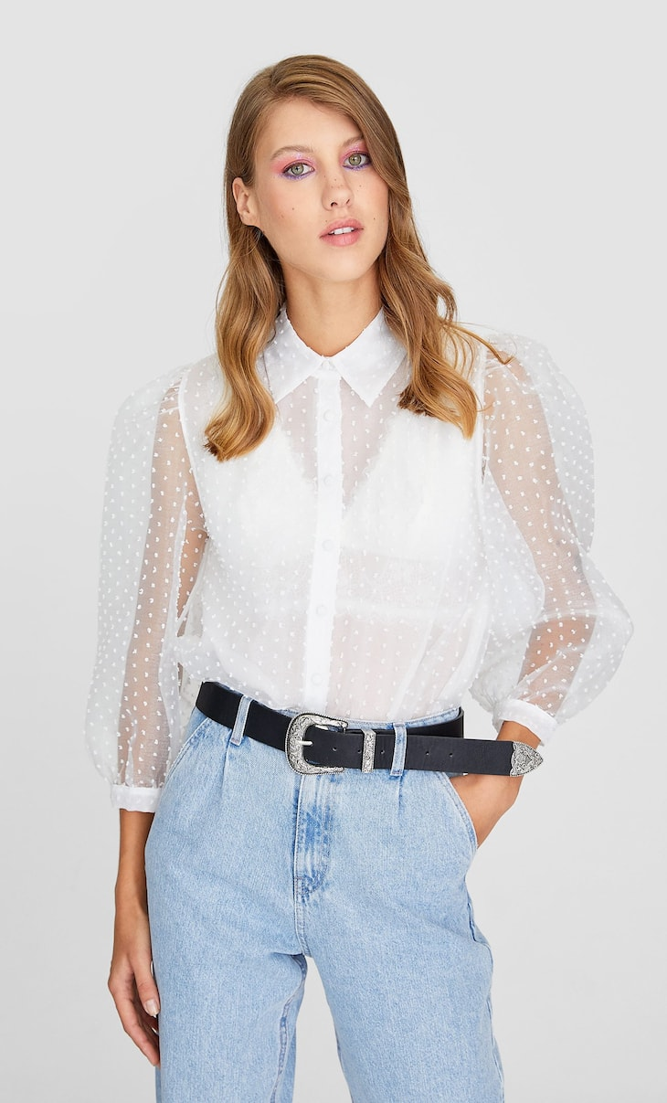 Organza puff sleeve shirt