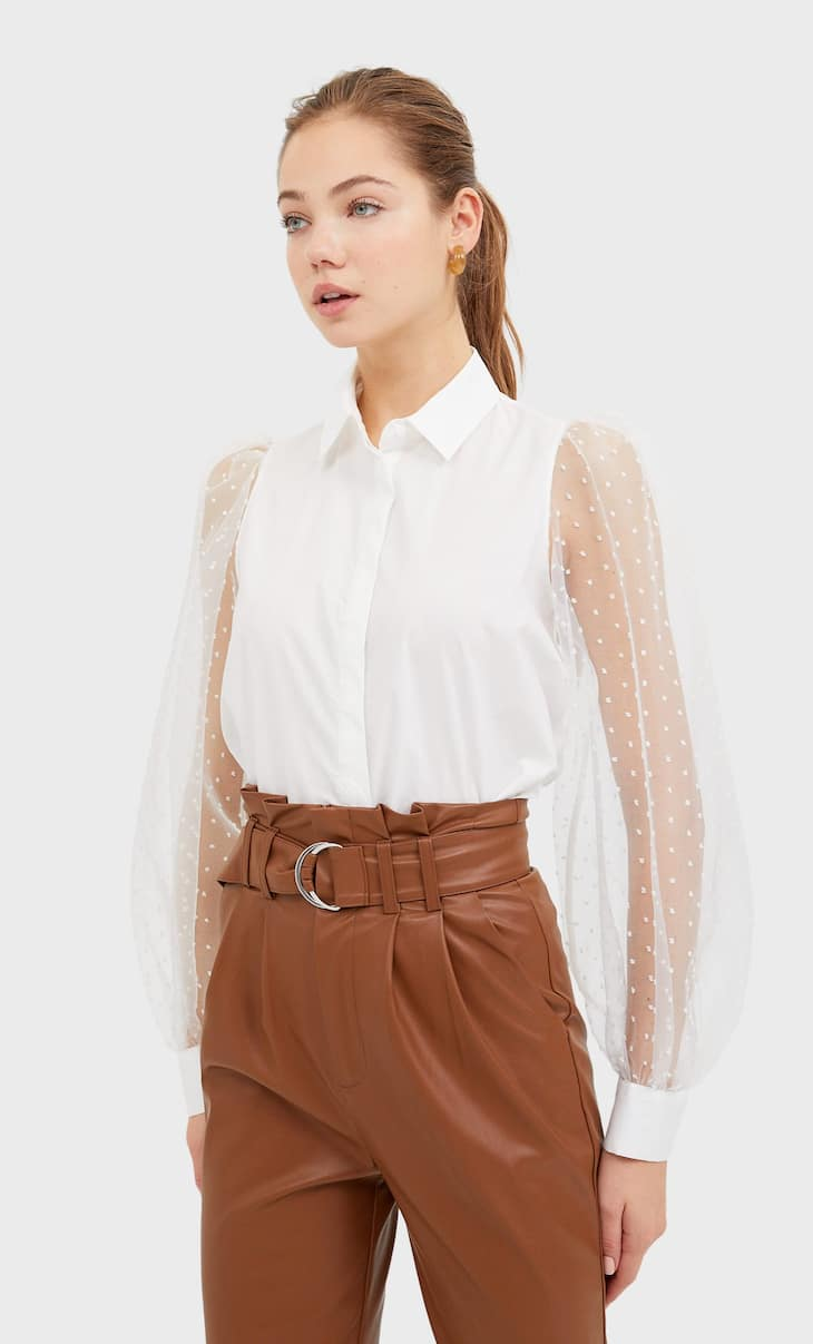 Poplin and organza shirt