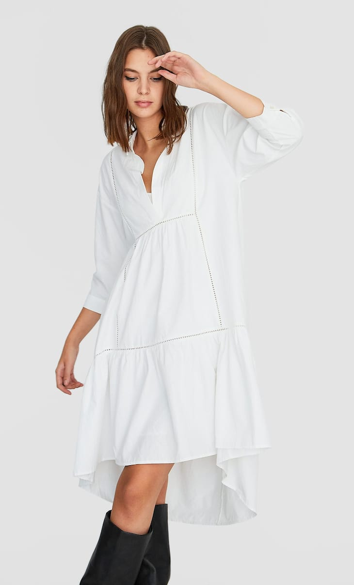 Асимметричное платье с V-образным вырезом