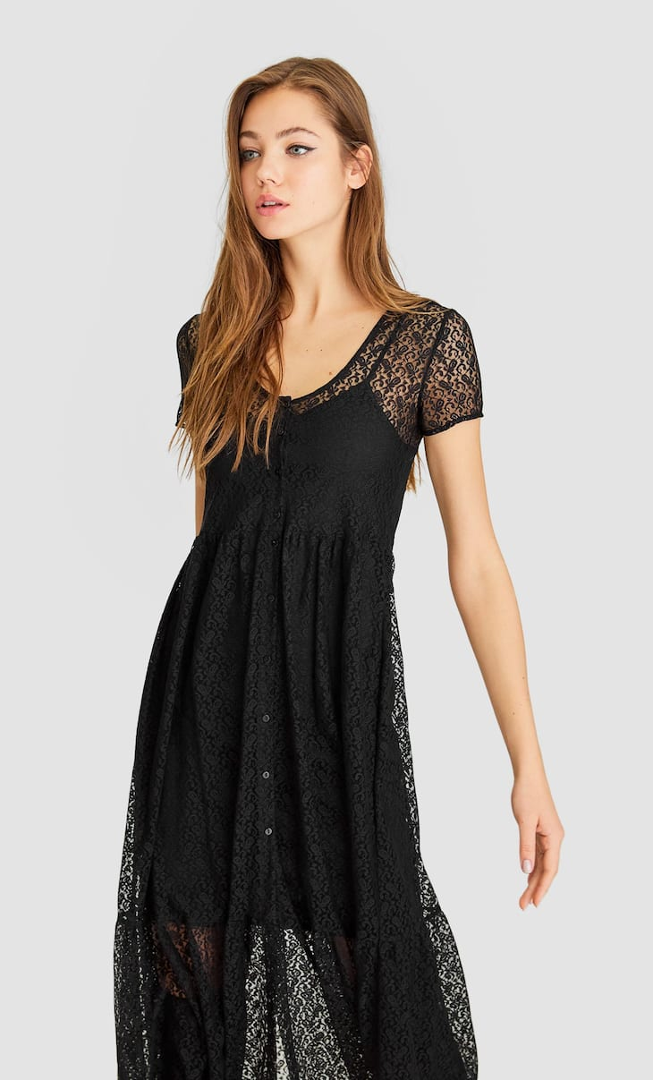 Lace-trimmed midi dress