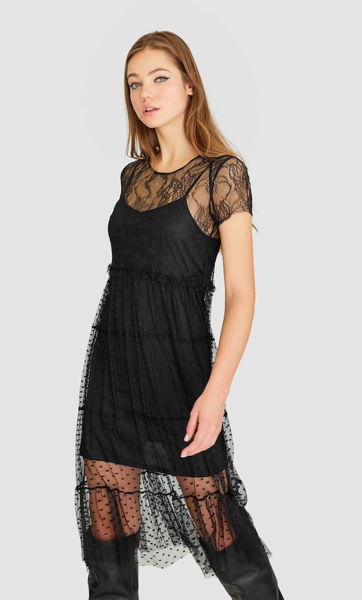 Midi-jurk met ronde hals