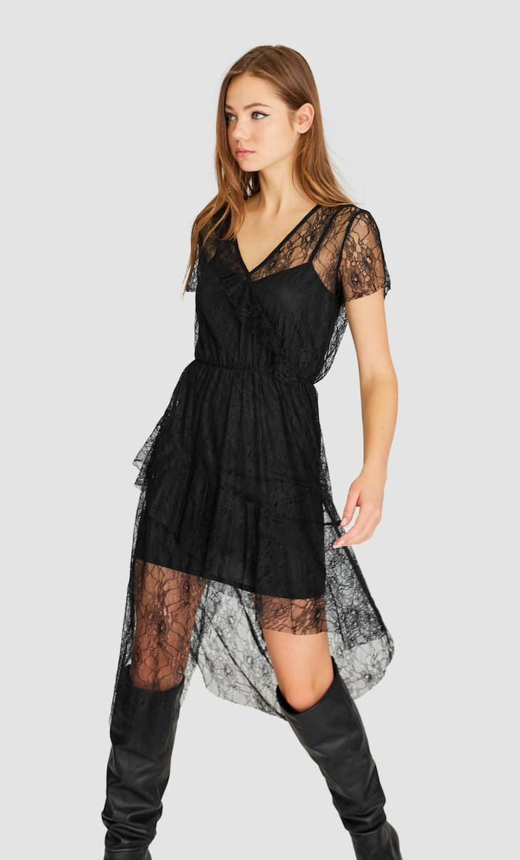 Midi dress with lace