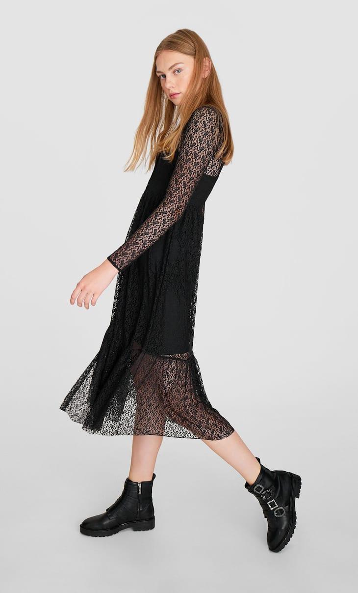 Midi-jurk met kant