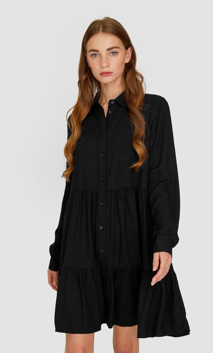 Ruffled shirt dress
