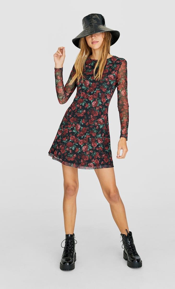 Rochie din tul cu flori