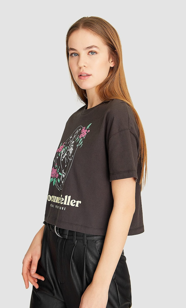 T-shirt crop estampada