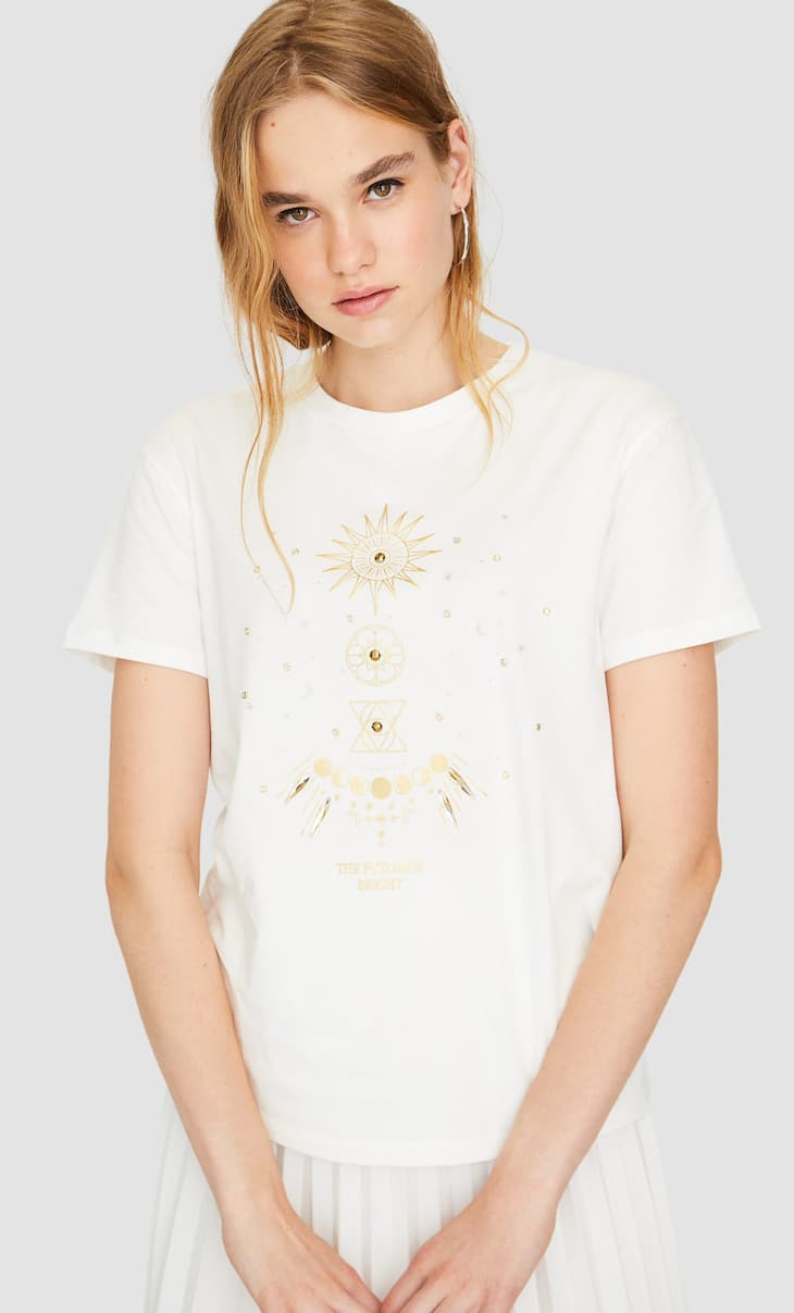 T-shirt with gem appliqués