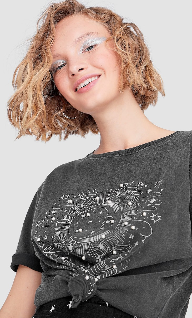 Astral print pearl T-shirt