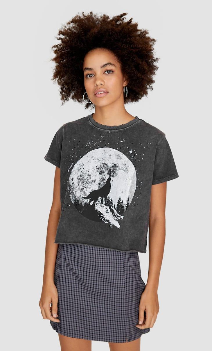 T-shirt met acid wash print
