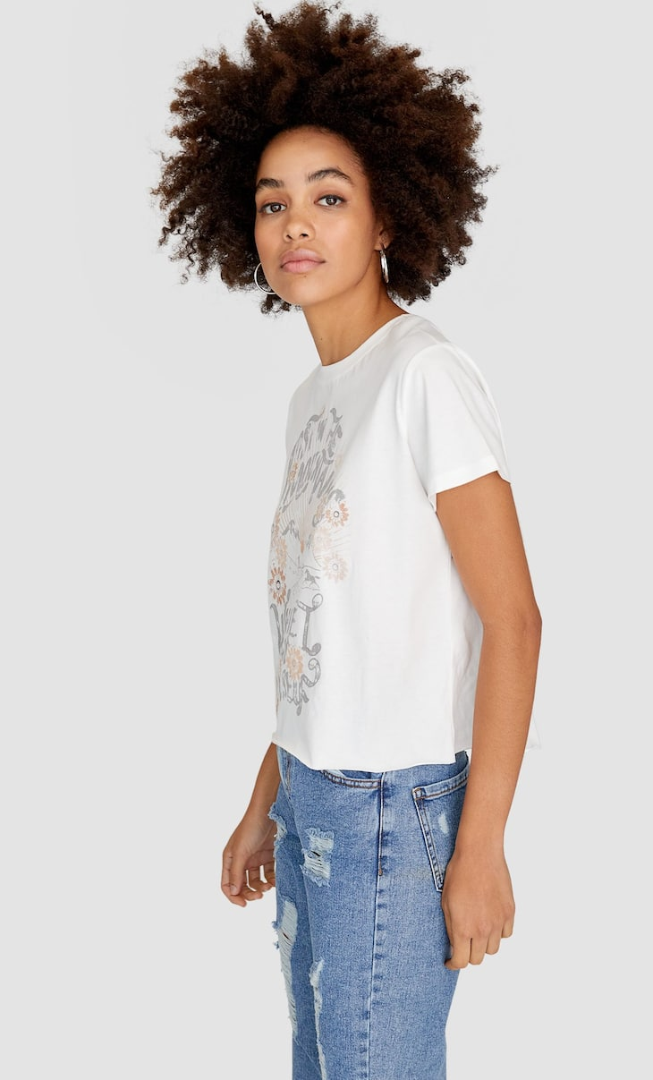 Acid wash print T-shirt