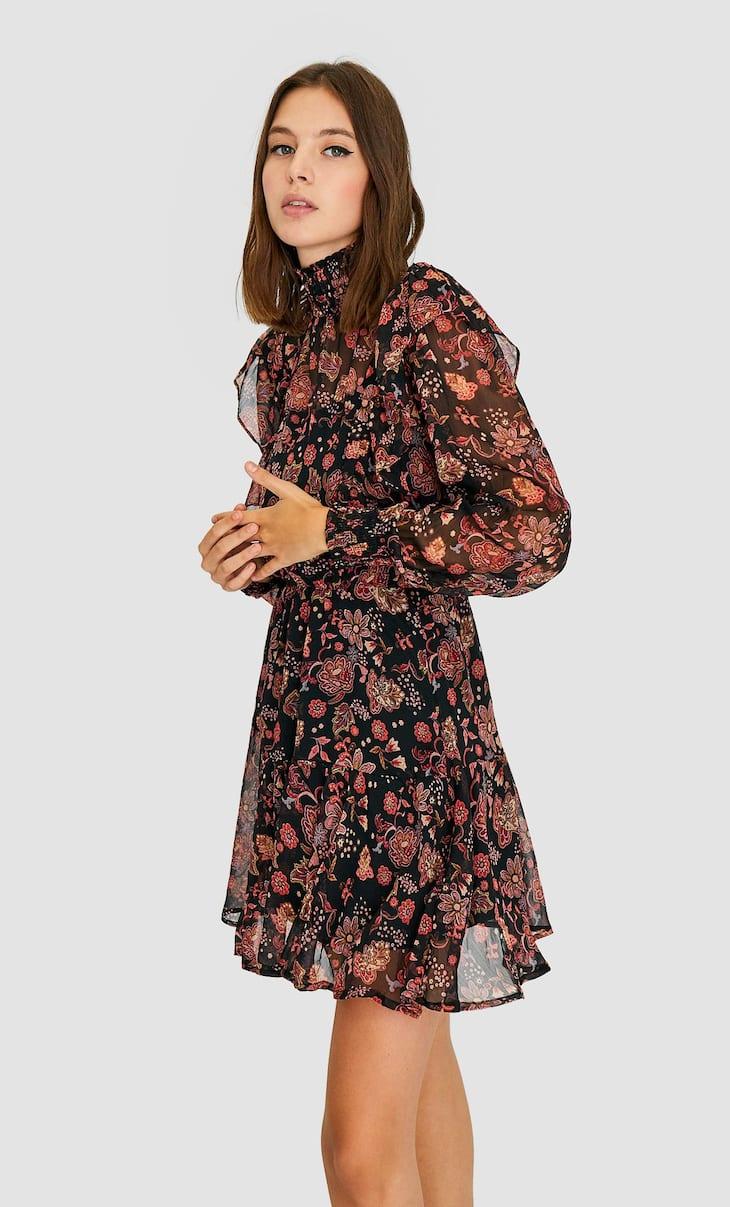 Geblümtes Kleid mit geripptem Stehkragen
