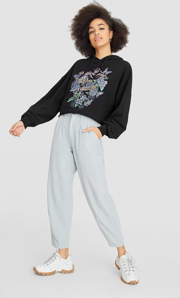 Cropped hoodie with faded-effect print