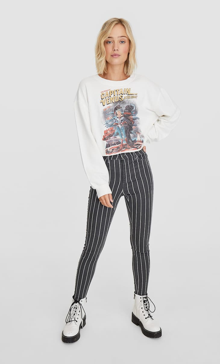 High waist skinny striped trousers