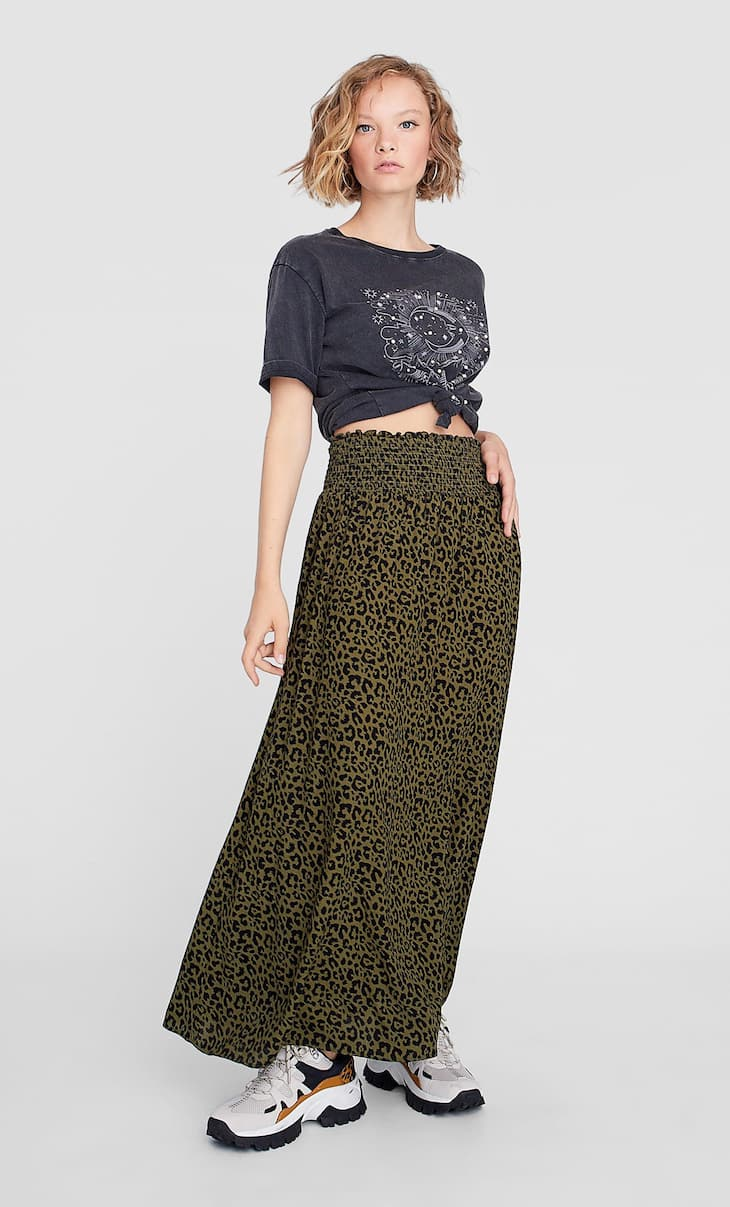 Long printed skirt