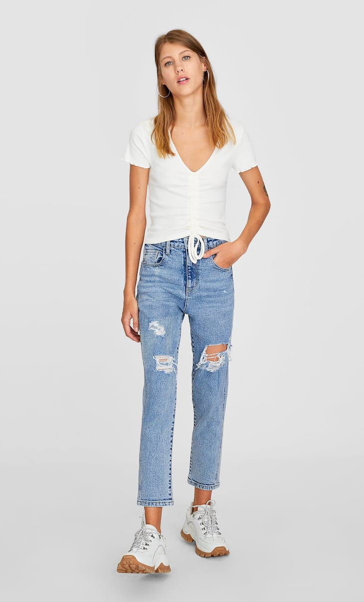 Ripped slim fit mom jeans