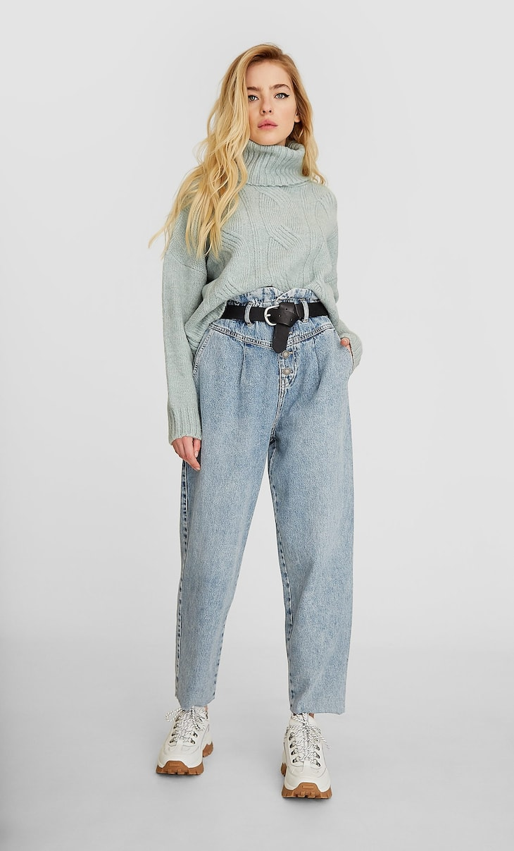 Paperbag front yoke jeans