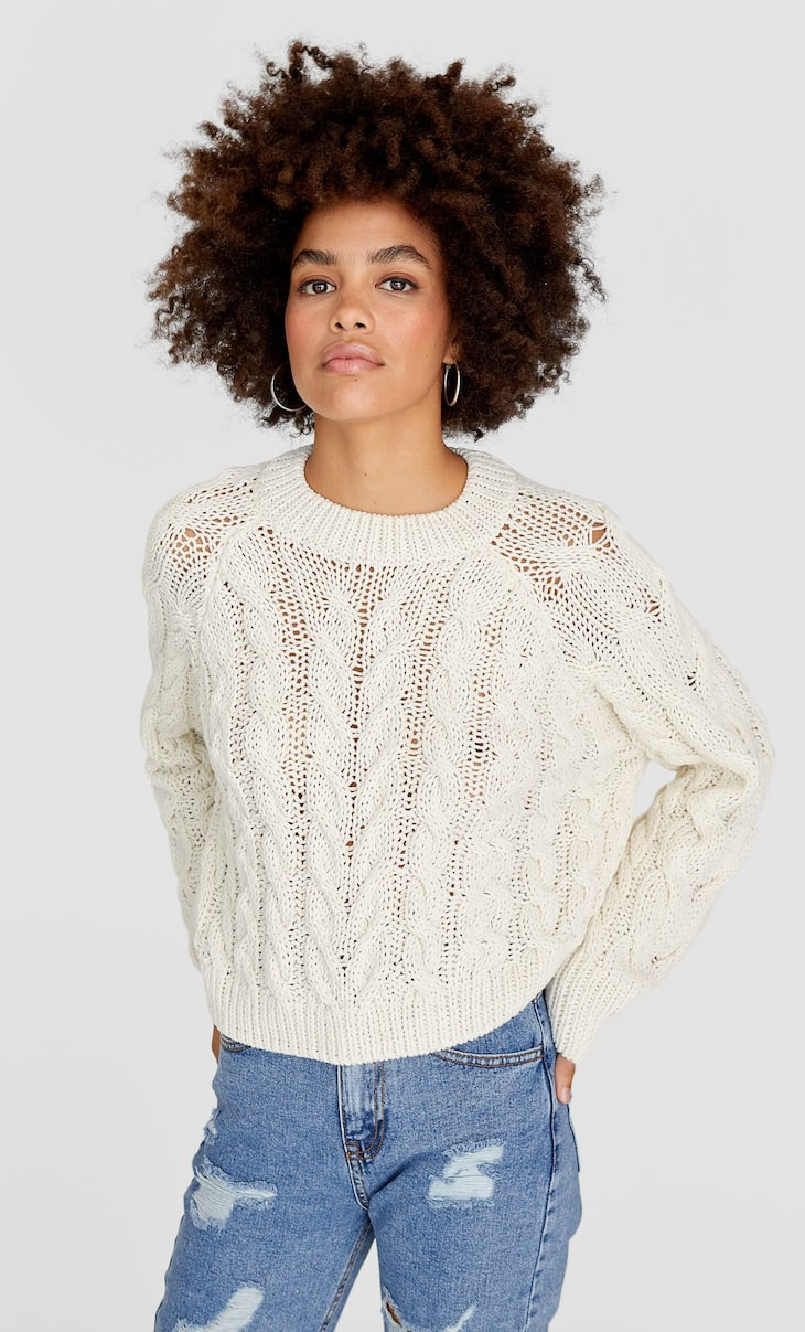 Oversized cable-knit sweater