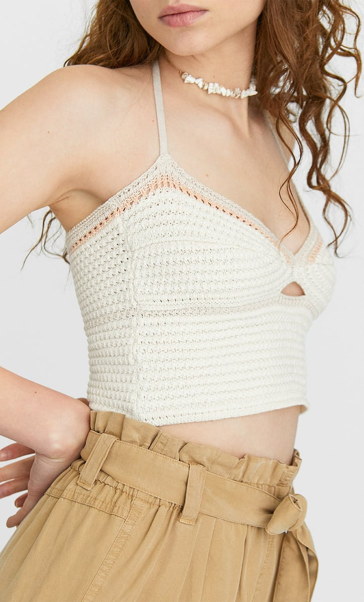 Cut-out crochet top