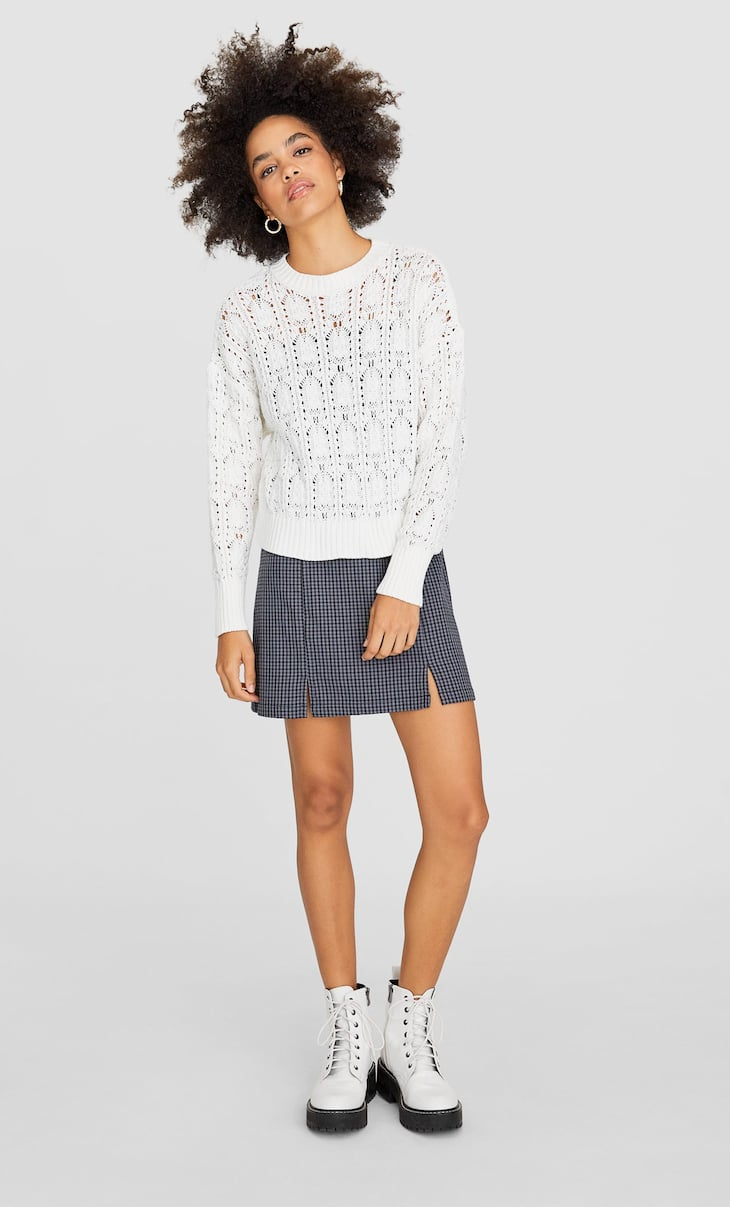 Embellished die-cut sweater
